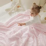 Cozy Bliss Minky Baby Blanket for Boys and Girls,Mink Dotted Double Layer Receiving Blanket with Bamboo Fabric Backing for Newborn, Lovely Cream Cloud Printing Patterned(Pink, 30' x 40 ')