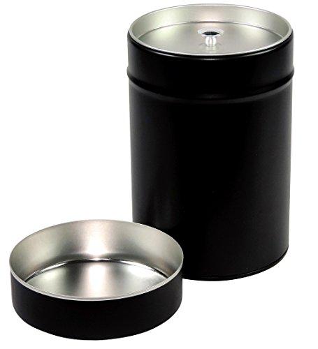 mikken - 2 x große Gewürzdose / Teedose rund & luftdicht mit Aromadeckel & 2 Etiketten, Kaffeedose aus Weißblech (Schwarz) als Metall-, Vorratsdose & Tabakdose geeignet (8.3 x 8.3 x 12.6 cm, Ø 8,3 cm)
