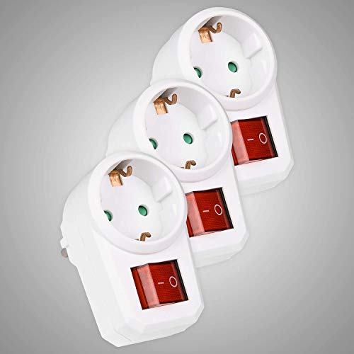 HEITECH 1 fach Steckdosenadapter mit Kindersicherung - GS & TÜV geprüfter Zwischenstecker mit Schalter - 3er Pack Adapterstecker