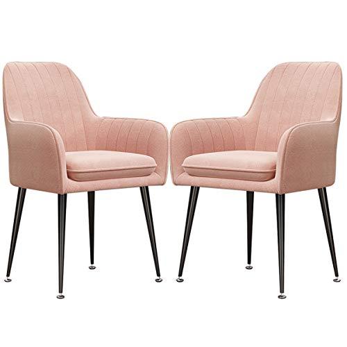 zyy Retro Dining Chairs 2er Set Samt-Sitz mit Rückenlehnen und Metallbeine Sessel Küchentheke Stühle Restaurant Tagungsraum Stühle (Color : Yellow, Size : Black Legs)