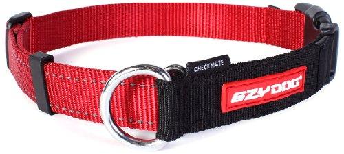 EzyDog Checkmate Hundehalsband - Halsband Hund - Zugstopp Halsband für Hunde - Zughalsband für hunde - Trainings und Dressurhalsband. Schlupfhalsband für Große, Mittlere und Kleine Hund (M, Rot)