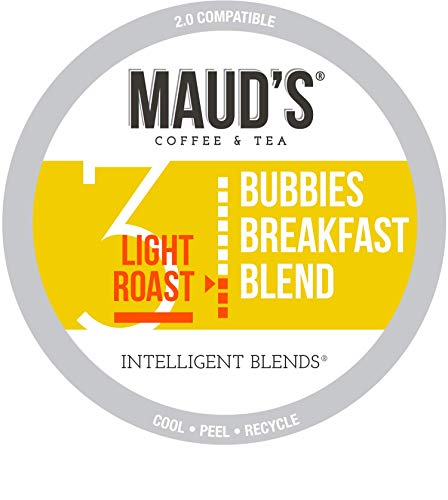 Maud's Breakfast Blend Coffee, (Bubbies Breakfast Blend), 100ct. Recyclable Single Serve Coffee Pods - Richly satisfying arabica beans California Roasted, k-cup compatible including 2.0