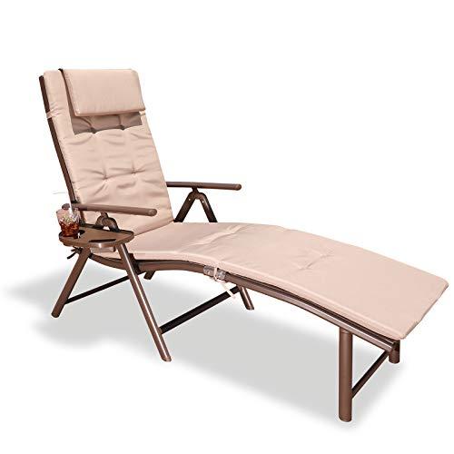 GOLDSUN Aluminum Outdoor Foldable Reclining Lounger Adjustable Folding Sun Lounge Chair with Cup...
