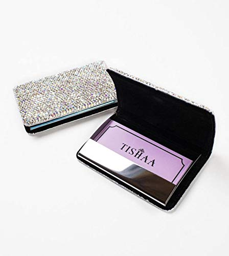TISHAA Bling Business Card Case – Luxury Name ID Credit Cards Portable Holder Wallet Pocket Organizer Crystal Rhinestone Glitter Women Accessories (White)