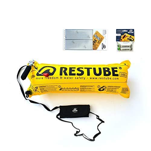 Kit de Iniciación con Boya de Natación Restube Beach – Incluye Cinturón Flotador Salvavidas Restube Beach con Sistema de Inflado Rápido, 2 Botellas de CO2 de Recambio y Cinta Reflectante Impermeable