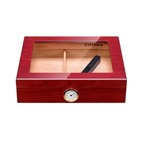 Panduo Zigarettenschachtel Zigarren Humidore, Moisturizer, Humidore, Woodgrain Farbe große Kapazitäts-Zigarrenkisten Good Mood, Good Life (Farbe: rot)