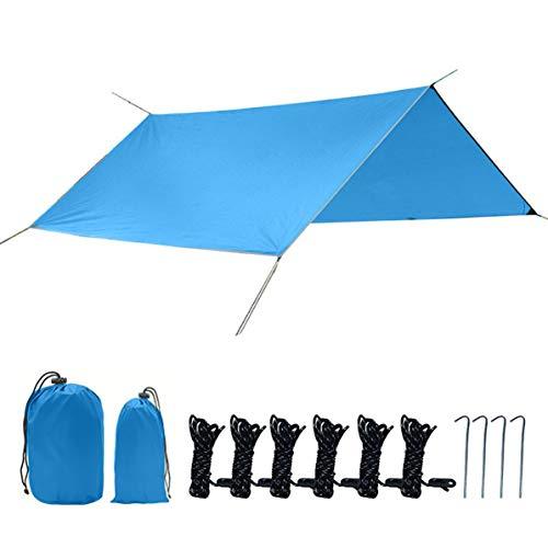 Longspeed Quadratische Überdachung Multifunktionale Campingmatte im Freien Dickes Oxford-Tuch Silberbeschichteter Sonnenschutz Wasserdichtes Hängemattenzelt - Hellblau