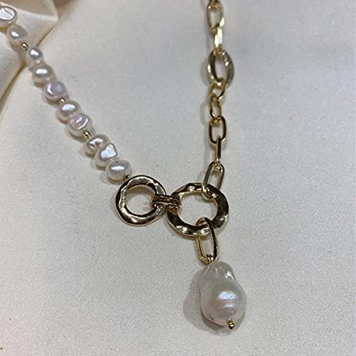 SONGK Collares Pendientes Irregulares de Perlas de Agua Dulce Naturales para Mujer, Cadena Gruesa, círculos, Collares de Perlas barrocas, Elegantes