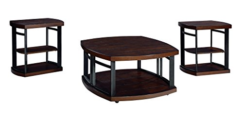 Ashley Furniture Signature Design - Challiman Occasional Table Set - 1 Coffee Table and 2 End Tables - Set of 3 - Rustic Brown