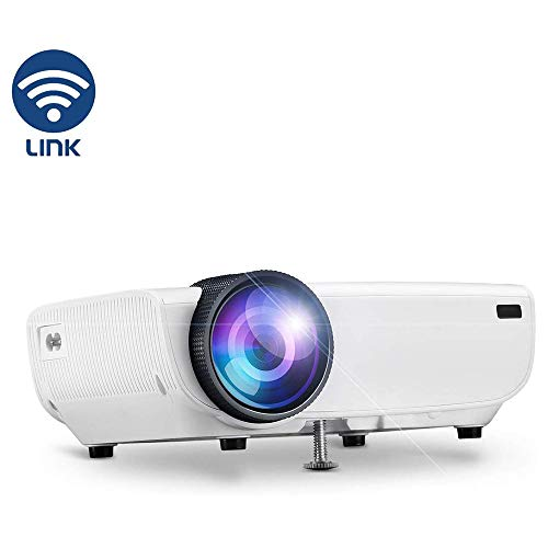 Wireless Projector, WIFI Portable Thuisbioscoop Projector 1080P Ondersteuning Speaker, WIFI Direct Verbonden Met Mobiele Telefoon Tablet En Laptop, HDMI VGA AV USB SD,White