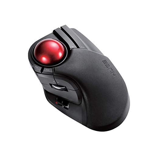 ELECOM 2.4GHz Wireless Finger-operated Large size Trackball Mouse 8-Button Function with Smooth Tracking, Precision Optical Gaming Sensor (M-HT1DRBK) (Renewed)