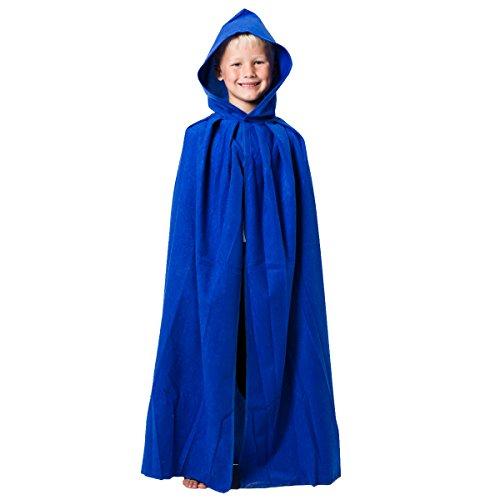 Charlie Crow Bleu. Déguisement Cape avec Capuche déguisement pour Les Enfants. Taille Unique 8-10 Ans.