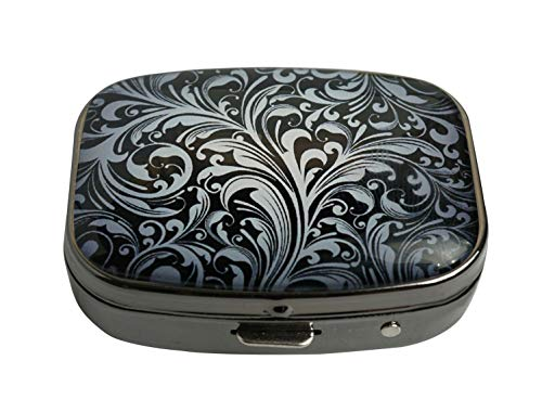 PTCRMG Image Custom Unique Pill Box Case Tablet Medicine Pocket Purse Travel Pill Vitamin Decorative Box Case Holder (Black Floral)