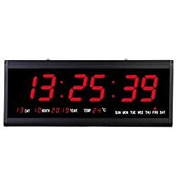 SecreShow 18.9 Inch Oversized LED Digital Wall Clock Large Display with Indoor Temperature Date and Day of Week,Electric Wall Clock/Calendar Timer Home Decor -Red