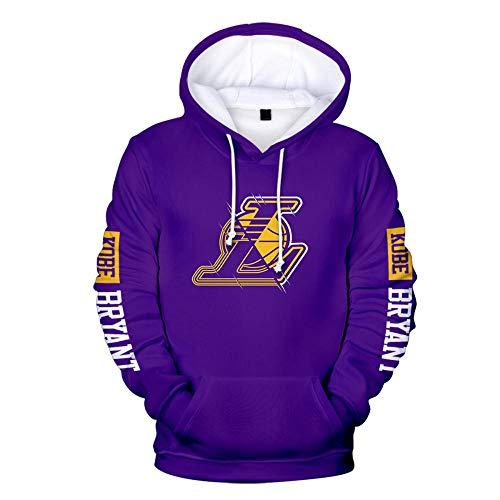 BAIDEFENG 3D Herren und Damen Basketball Hoodie NBA Lakers Kobe Bryant Jersey Kapuzenpullover Loose Basketball Sweatshirt T-Shirt-Lila_Klein
