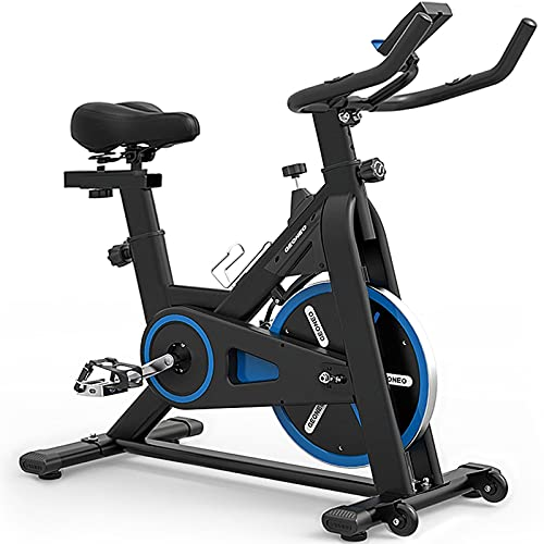 TRYA Indoor Cycling Bike Stationary, Exercise Bike for Home Cardio Gym, Workout Bike with 35 Lbs Flywheel & Thickened Frame Upgraded Version (Blue)