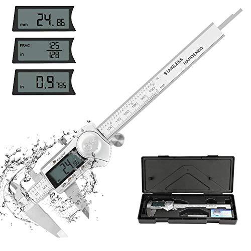POWERGIANT Calibre Digital 150mm/ Pie de Rey IP54 a Prueba de Agua Profesional Acero Inoxidable Medir Diámetro Interior Exterior Profundidad con Gran Pantalla LCD