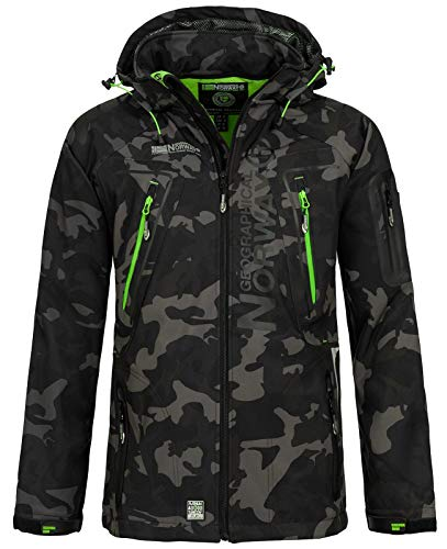 Geographical Norway Herren Softshell Outdoor Jacke Tambour/Taco/Techno abnehmbare Kapuze Black/Green L