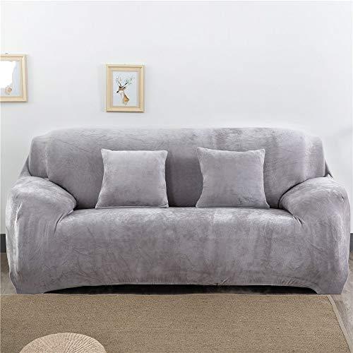 EXQUILEG Dicke Elastischer Sofabezug 1/2/3/4-Sitz-Überwurf aus Samt Größen (Silbergrau, 3 Seater:195-230cm)