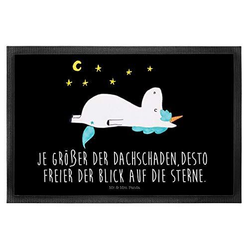 Mr. & Mrs. Panda Fussabtreter, Haustürmatte, 40 x 60 Fußmatte Einhorn Sternenhimmel mit Spruch - Farbe Schwarz