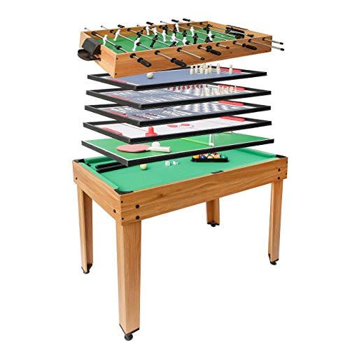 Mendler Calcetto biliardino Ping Pong Tavolo da Gioco 7in1 HWC-J15 82x107x60cm - Colore Legno