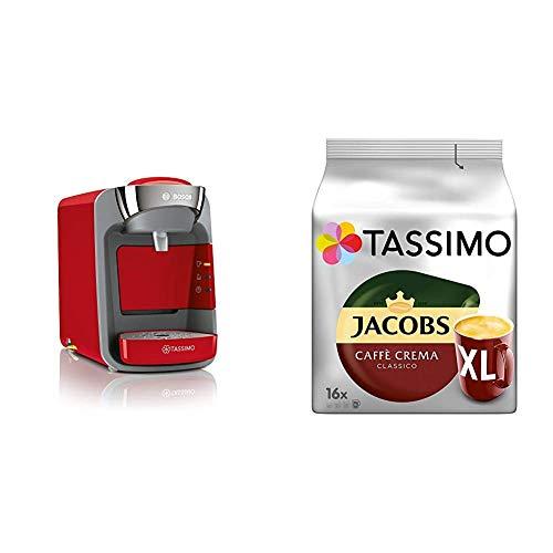 Bosch TAS3208 Tassimo Suny Kapselmaschine, über 70 Getränke, vollautomatisch, geeignet für alle Tassen + Tassimo Kapseln Jacobs Caffè Crema + Latte Macchiato + Milka + Probierbox
