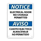 Panneau d'avertissement,AVIS Salle électrique AVISO Aucun stockage autorisé,Plaque d'affiche en métal signe extérieur 8x12 Inch