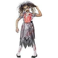 Smiffys Disfraz de Novia Zombi, Gris, con Vestido con Manchas de Sangre, Pieza de látex