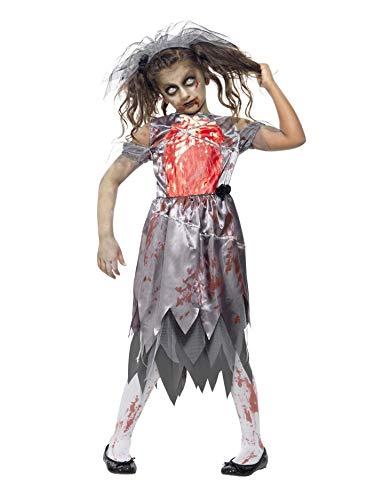 Smiffys Kinder Zombie Braut Kostüm, Kleid mit bedrucktem Brustteil und Schleier, Größe: L, 43027