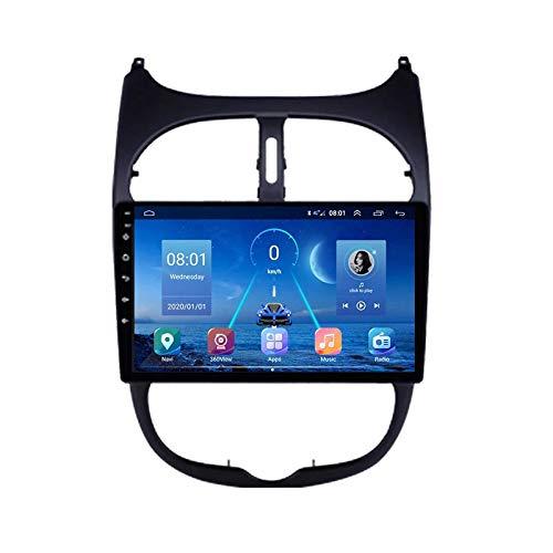 Car Stereo Android 10.0 Radio para Peugeot 206 1998-2012 Navegación GPS Unidad Principal de 9 Pulgadas Pantalla táctil HD Reproductor Multimedia MP5 Video con WiFi DSP SWC Mirrorlink