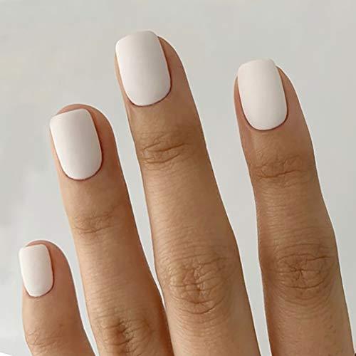 Brishow Künstliche Fingernägel Falsche Nägel Sarg Kurze gefälschte Nägel Kleben Sie die Nägel auf Weiße Acryl Ballerina Nagelspitzen 24Stücke für Frauen und Mädchen