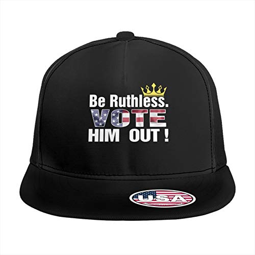 Lcemcoldae Unisex Snapback Hats,Be Ruthless Vote Him Out Adjustable Printed Hip Hop Flat Bill Baseball Cap Black