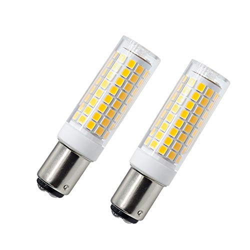 Ba15d LED Bulb 2 Pack, Ba15d Double Contact Bayonet Base 102LEDs 3000K, 7W Led Bulb120V 75W Equivalent Halogen Bulbs Replacement, Dimmable Sewing Machine LED Light Lamp
