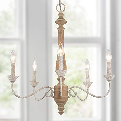 """LOG BARN Dining Room Chandelier, French Country Chandeliers for Kitchen Island, Farmhouse Wood Hanging Light Fixture, 5-Light, 23.5"""" Dia"""