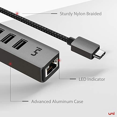 uni USB C Ethernet Adapter, USB C Ethernet Hub, USB C auf Ethernet Adapter mit RJ45 LAN Netzwerk, kompatibel mit MacBook Pro/Air, iPad Pro 2020/2018, iPad Air 2020 - Space Grau