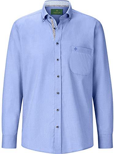 Charles Colby Herren Langarm Hemd Conal (Businesshemd, Jacquard-Hemd) blau 2XL (XXL) - 45/46