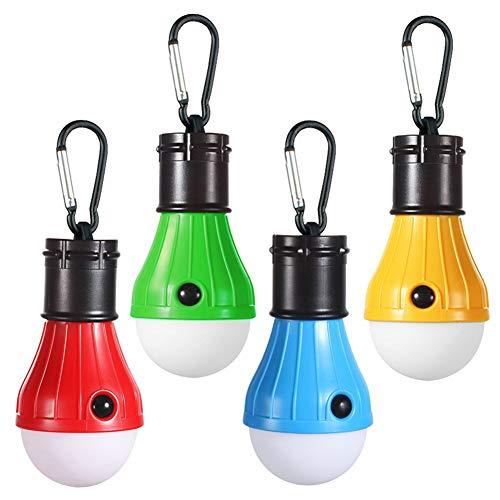 4-pack draagbare tentlamp - kampeerlampen hangende lantaarn met karabijnhaak - waterbestendig, led-lamp voor wandelen, rugzakken, vissen, decoratie