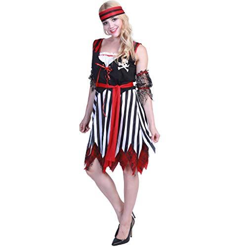 EraSpooky Damen Piratenkostüm Piratin Kostüm Faschingskostüme Cosplay Halloween Party Karneval Fastnacht Kleid für Erwachsene