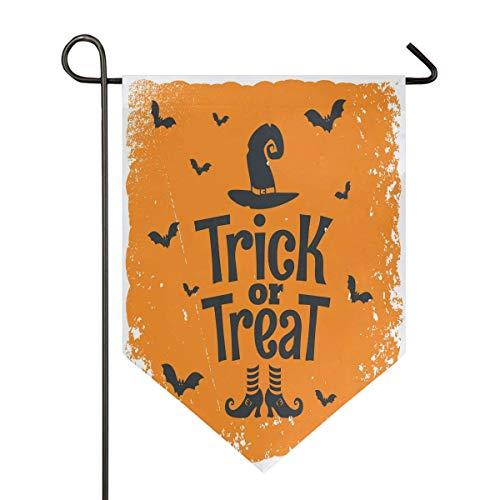 jenny-shop Süßes oder Saures Halloween Hexenhut Schuhe Fledermaus Gelbe Gartenfahne Doppelseitig 12,5 x 18 Zoll