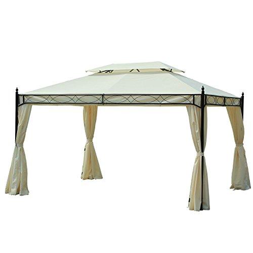 Outsunny Gazebo Tenda da Giardino con Doppio Tetto 4 Teli Laterali Impermeabili 3 × 4m Crema