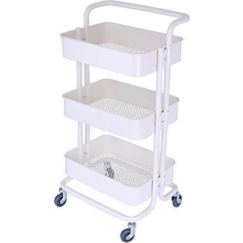 YUNShelf Carrito de Cocina de 3 Niveles, Carro de Servicios Metálicos Organizer Rack con Bandejas y Bloquear Ruedas para Cocina Baño Dormitorio de Almacenamiento (Color : White)