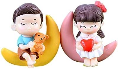 P S Retail Sweety Lovers- Moon Couple Figurine Miniature - Style 19 - (2pcs/Set)