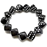 xunxi novità bracciali, perline di dadi acrilici colorati braccialetti elastici gioco divertente braccialetti di dadi fortunati moda donna jewerly nero