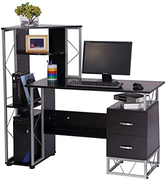 Home Office Desk Computer Workstation Tower Shelves Bookshelf Desktop Functional Furniture Dorm Room Organization Storage Books Black