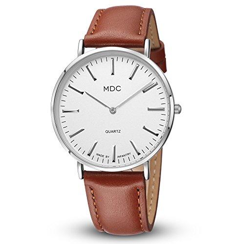 Herrenuhr Lederarmband Braun Armbanduhr Herren Leder Uhr Männer Uhren Damen Herrenarmbanduhren Damenuhr by MDC