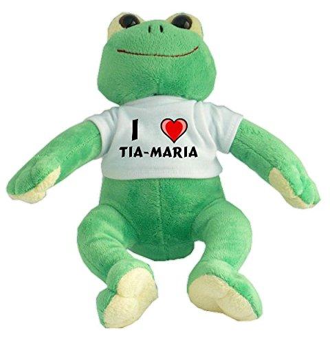Rana de peluche con Amo Tia-maria en la camiseta (nombre de pila/apellido/apodo)