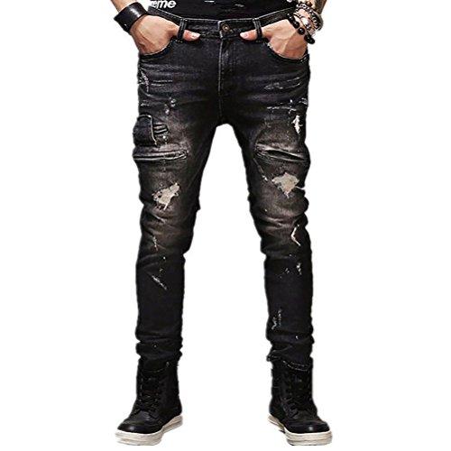 AOWOFS Herren Ripped Jeans Skinny mit Löcher Denim Trouser Pants Fashion Stylish Jeanshose Destroyed