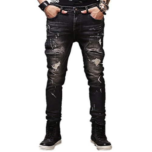 AOWOFS Herren Ripped Jeans Skinny mit Löcher Denim Trouser Pants Fashion Stylish Jeanshose Destroyed