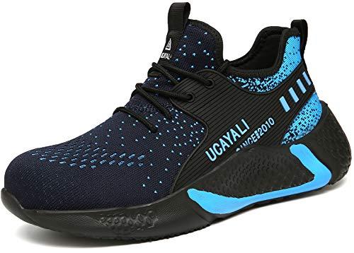 UCAYALI Hombre Zapatos de Seguridad Construcción Transpirables Cómodos Zapatillas de Trabajo Ligeros para Caminar Forjar, Azul 42 EU