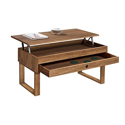 HOGAR24 ES Vanir - Mesa de Centro Elevable Cajón Deslizante, Diseño Industrial-Vintage, Madera Maciza Natural. Medidas: 100x50x47 cm